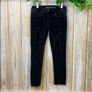 American Eagle Black Jeans Jeggings Crop Size 4